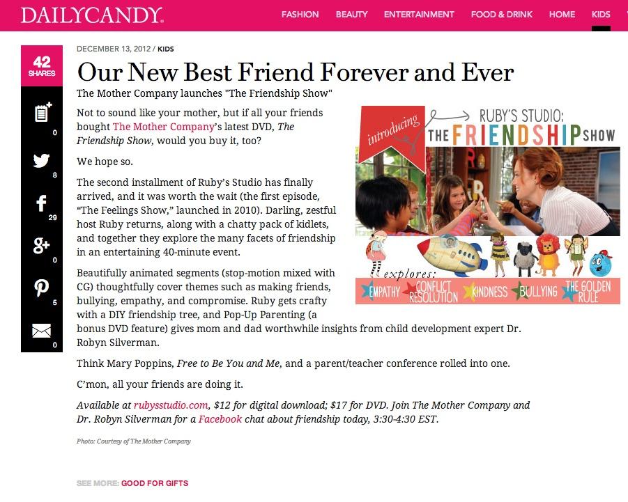 DailyCandy Friendship SCREENCAP