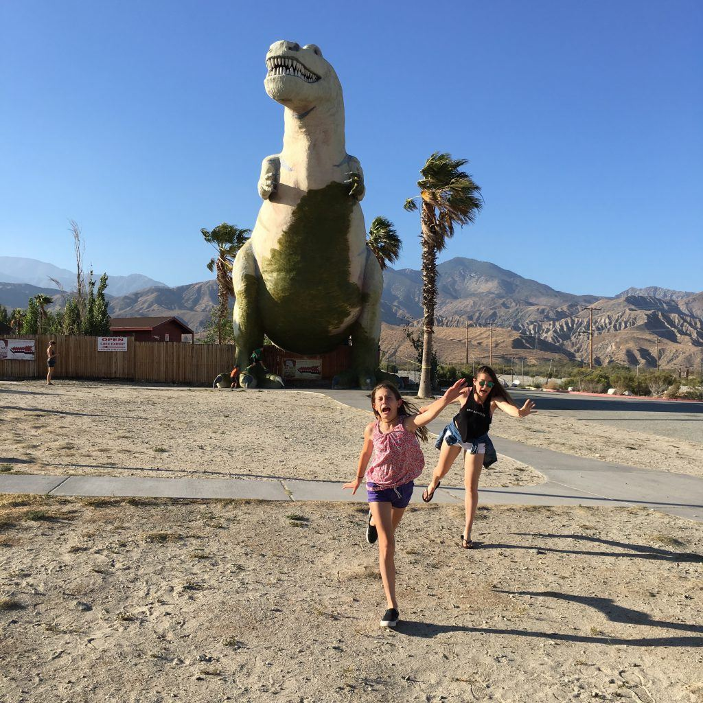 Fun running from Cabazon dinosaurs on way to Palm Springs