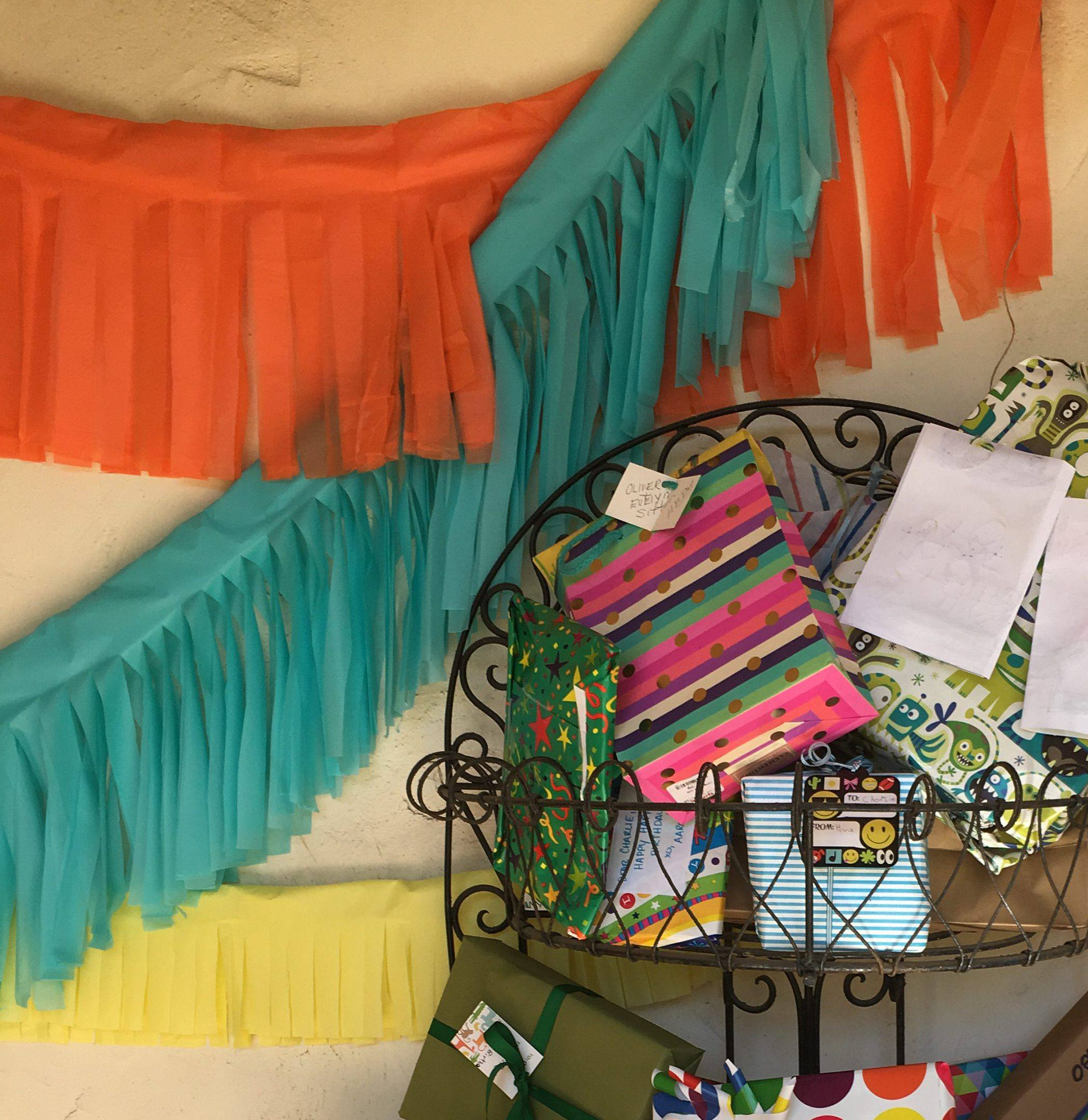 Dollar store fringe and presents